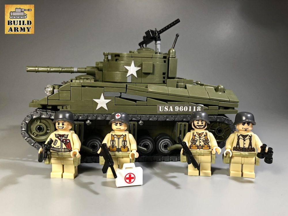 M4 Sherman Tank With 4 Us Infantry Minifigures